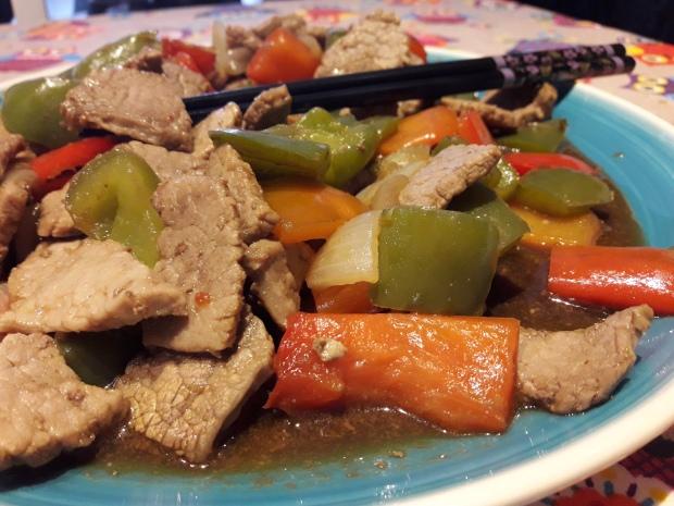 Ternera con verduras y soja